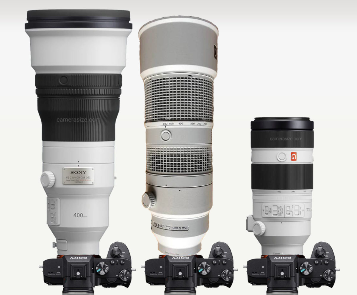 Size Comparison: FE 200-600mm vs FE 400mm f/2.8 GM vs FE 100-400 GM Lenses
