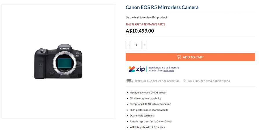 Canon EOS R5 Price to be Over $6,000 ?