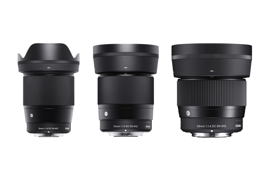Sigma 16mm, 30mm and 56mm F1.4 DC DN Contemporary Lenses and USB Dock UD-11 for L-Mount and Canon EF-M