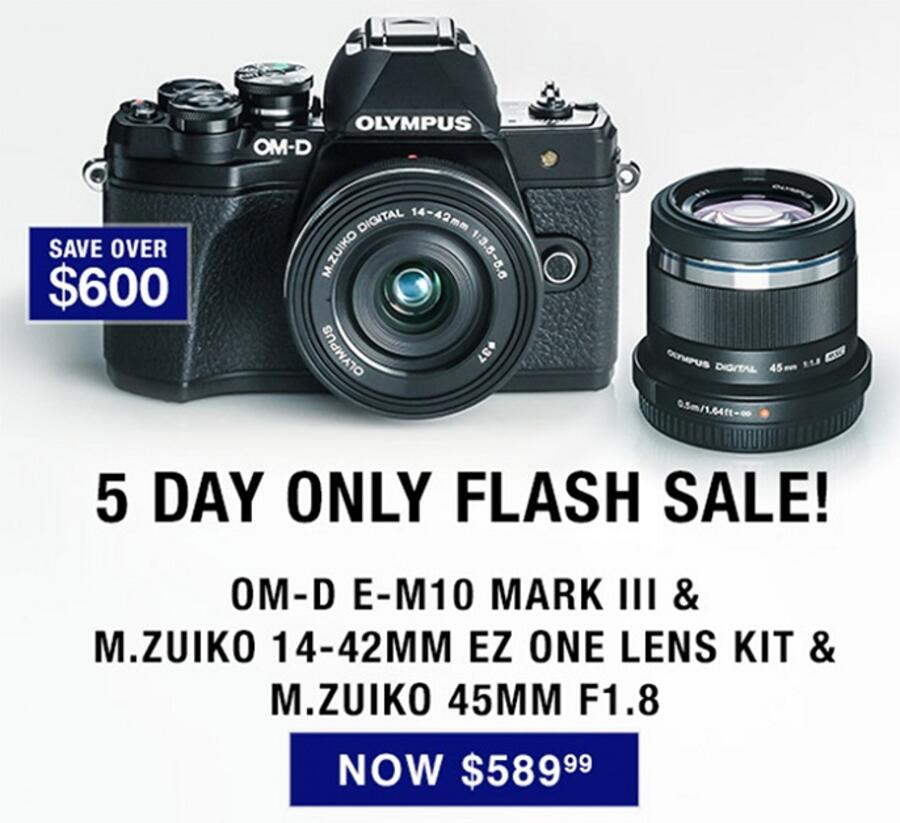 Deal: Save $609 on Olympus E-M10 Mark III with 14-42mm and 45mm Lenses Kit for $589