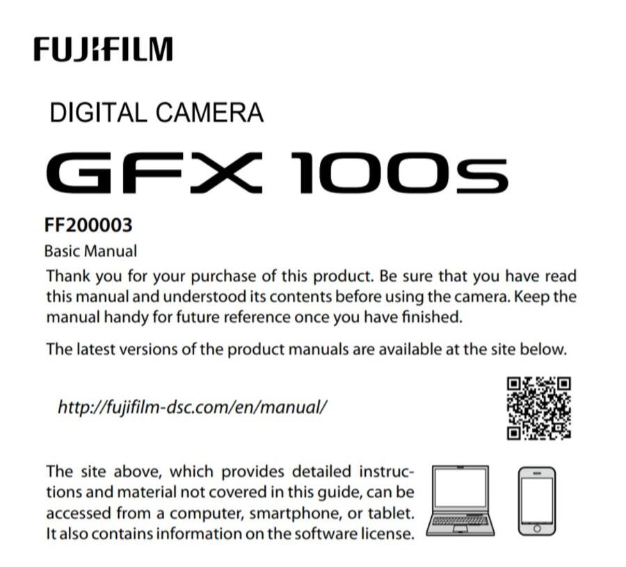 Fujifilm GFX 100S User Manual now Available for Download